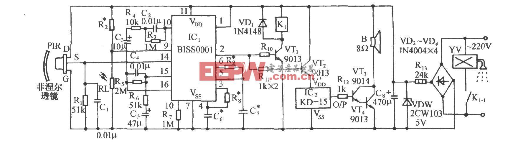 用BISS0001的紅外傳感自動噴水控制電路