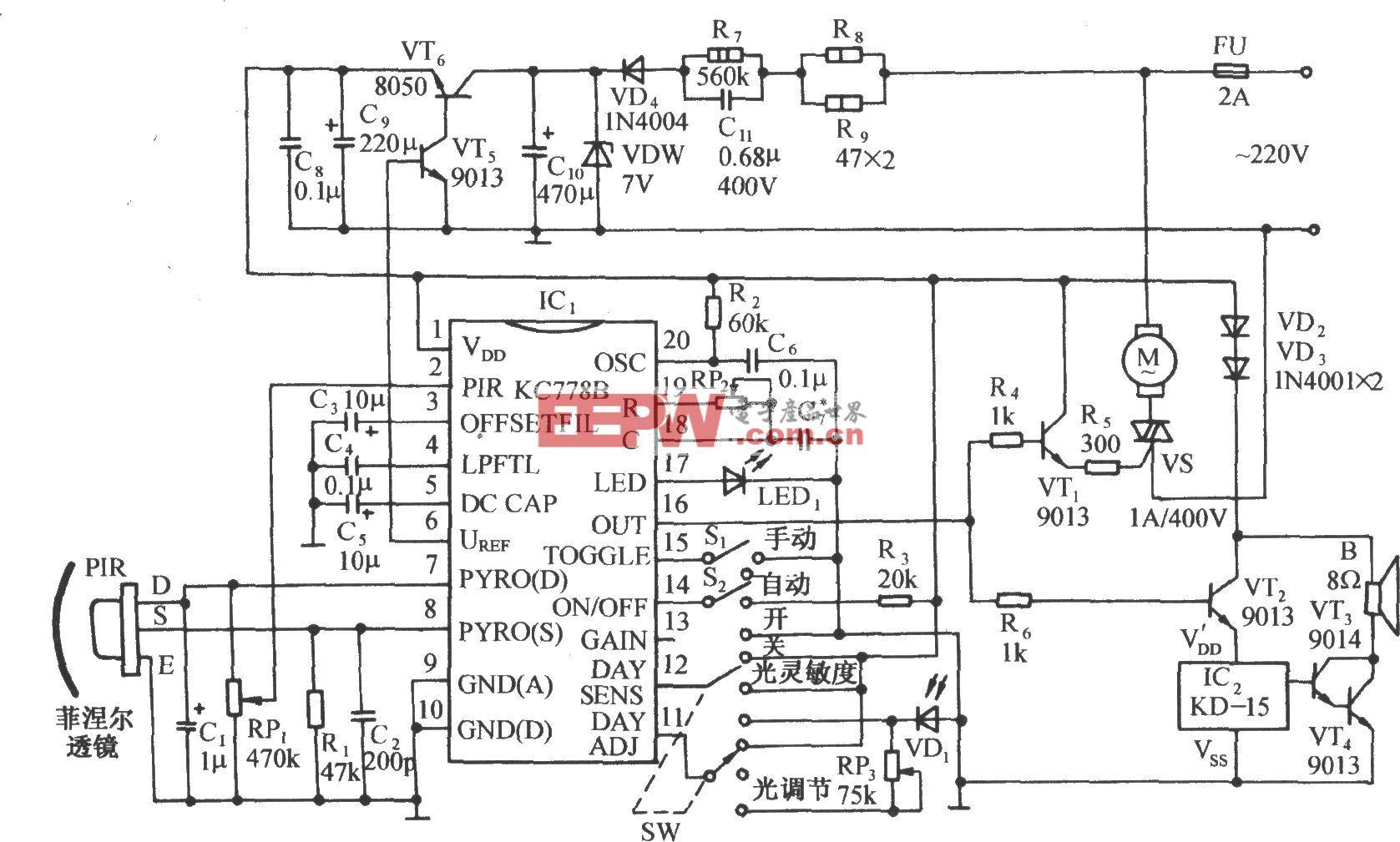 用KC778B的红外传感自动门控制电路