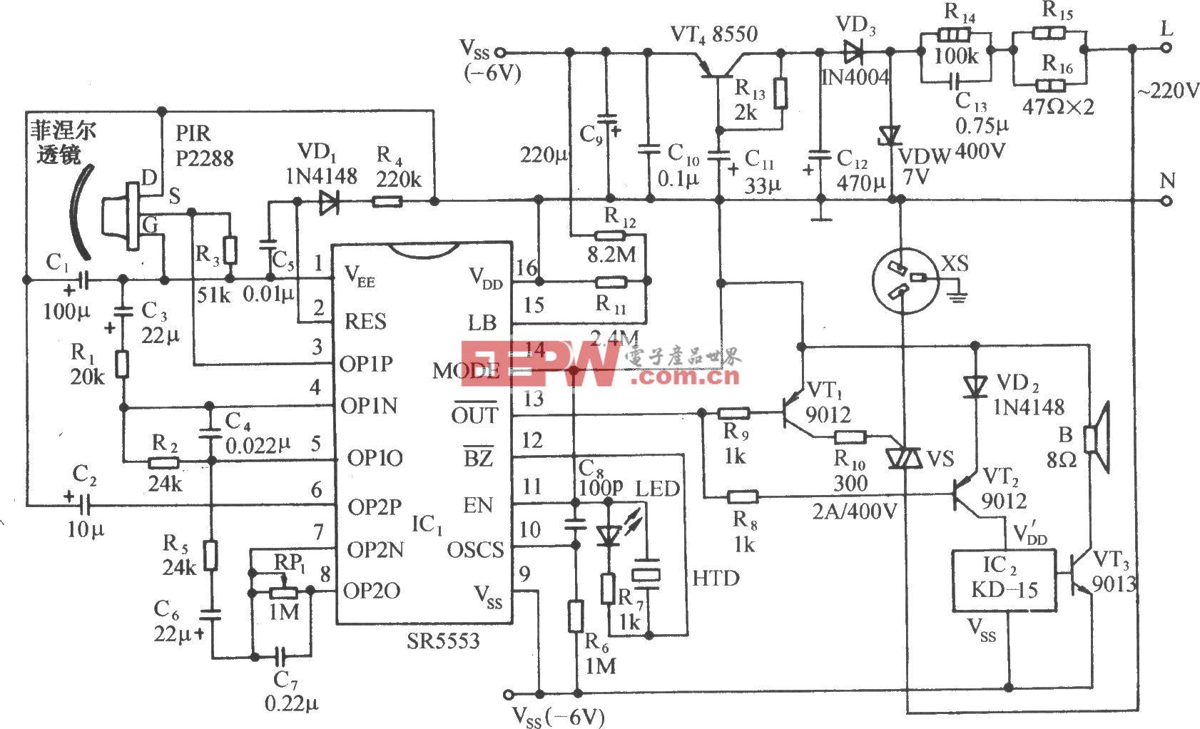 用SR5553的红外传感自动开机控制电路