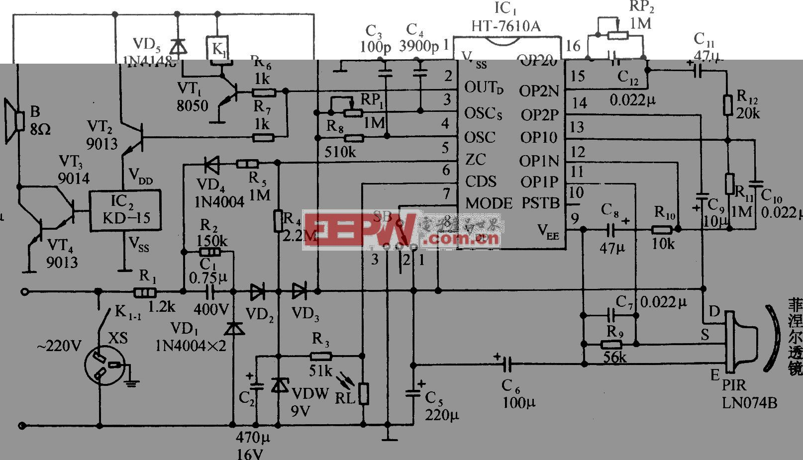 用HT-7610A的红外传感音乐插座控制电路