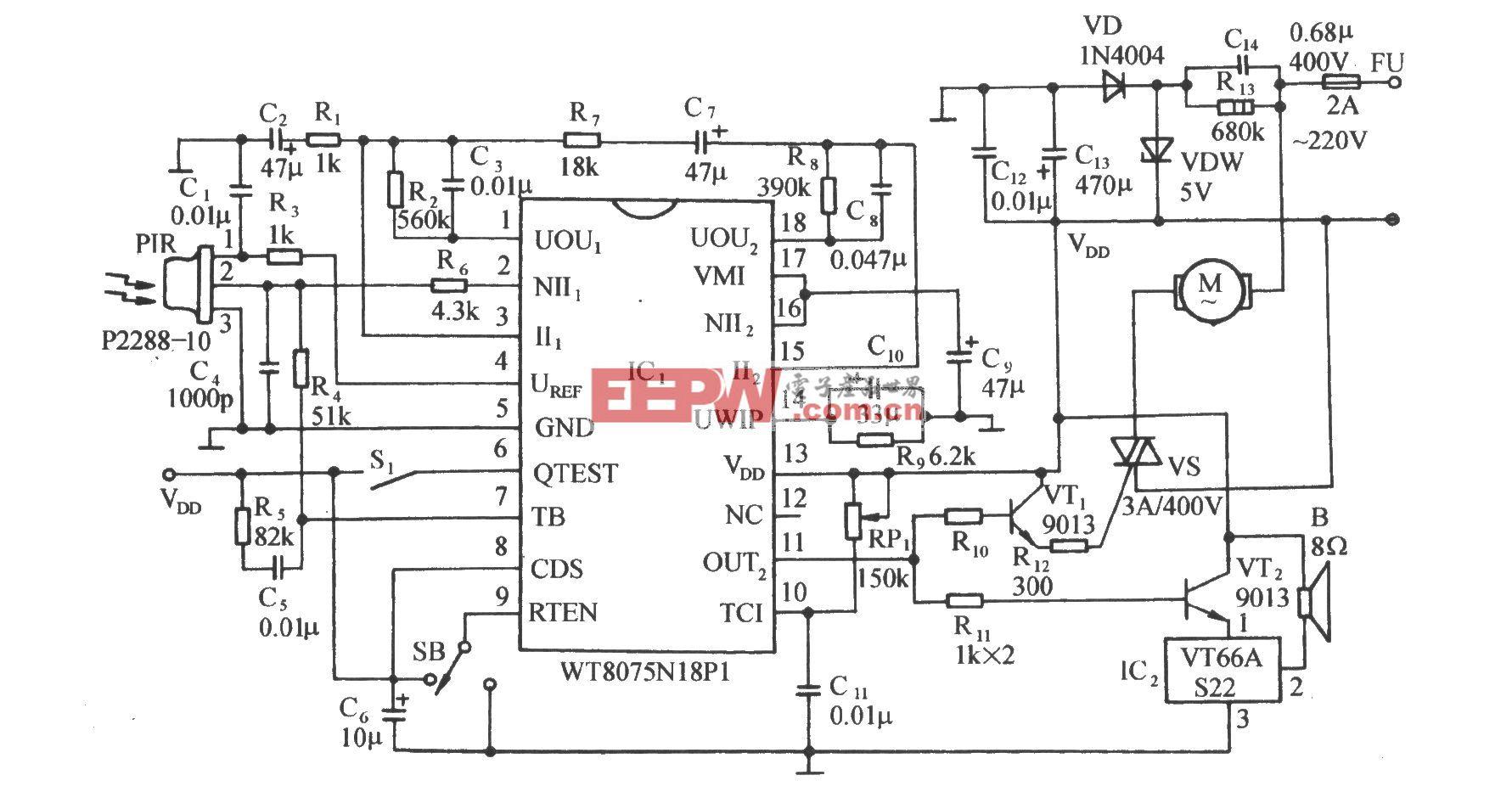 用WT8075红外传感集成电路的自动门控制电路