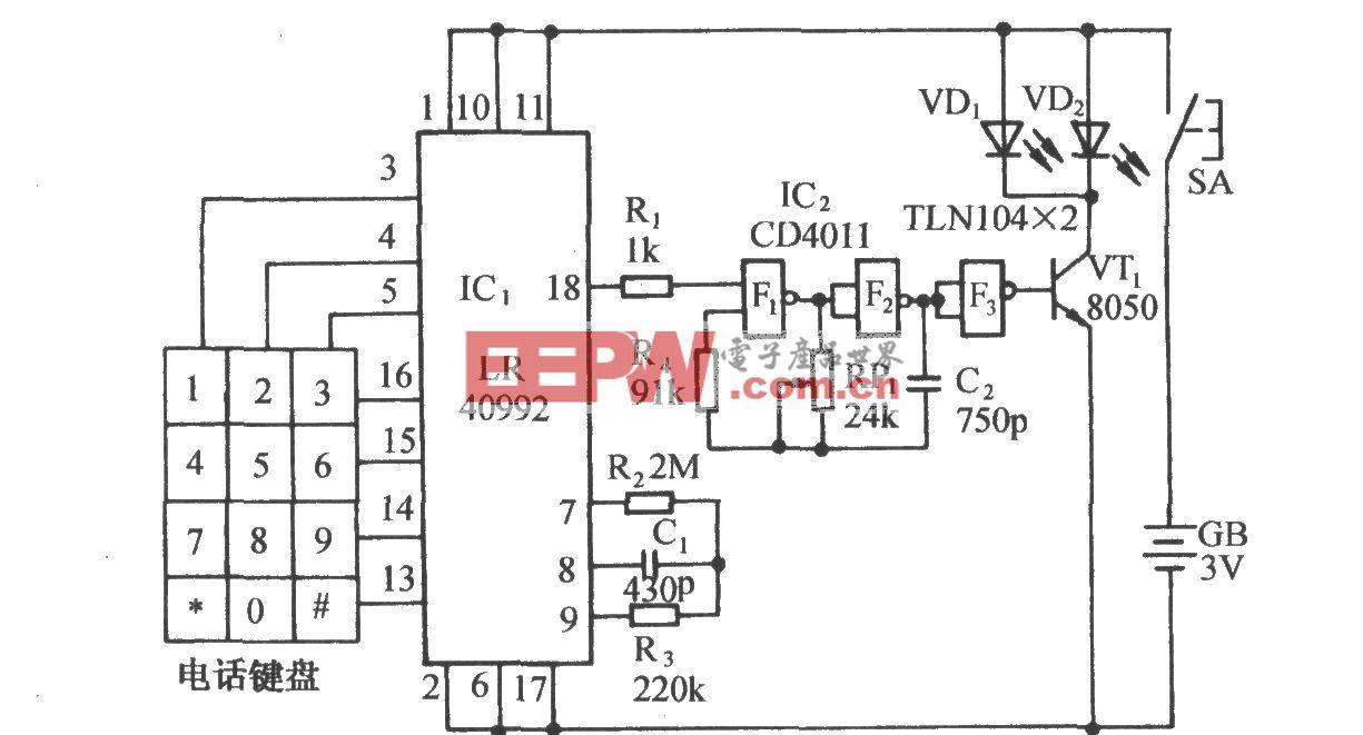 脈沖撥號九路紅外遙控電路(LR40992、μPC1373)