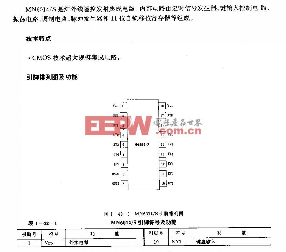 MN6014/S红外线遥控发射电路