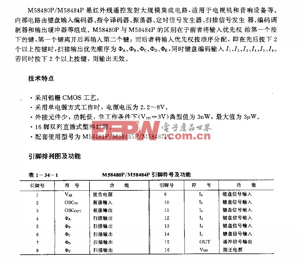M58480P/M58484P(电视机初音响设备)30功能红外线??胤⑸涞缏?></a> <div class=