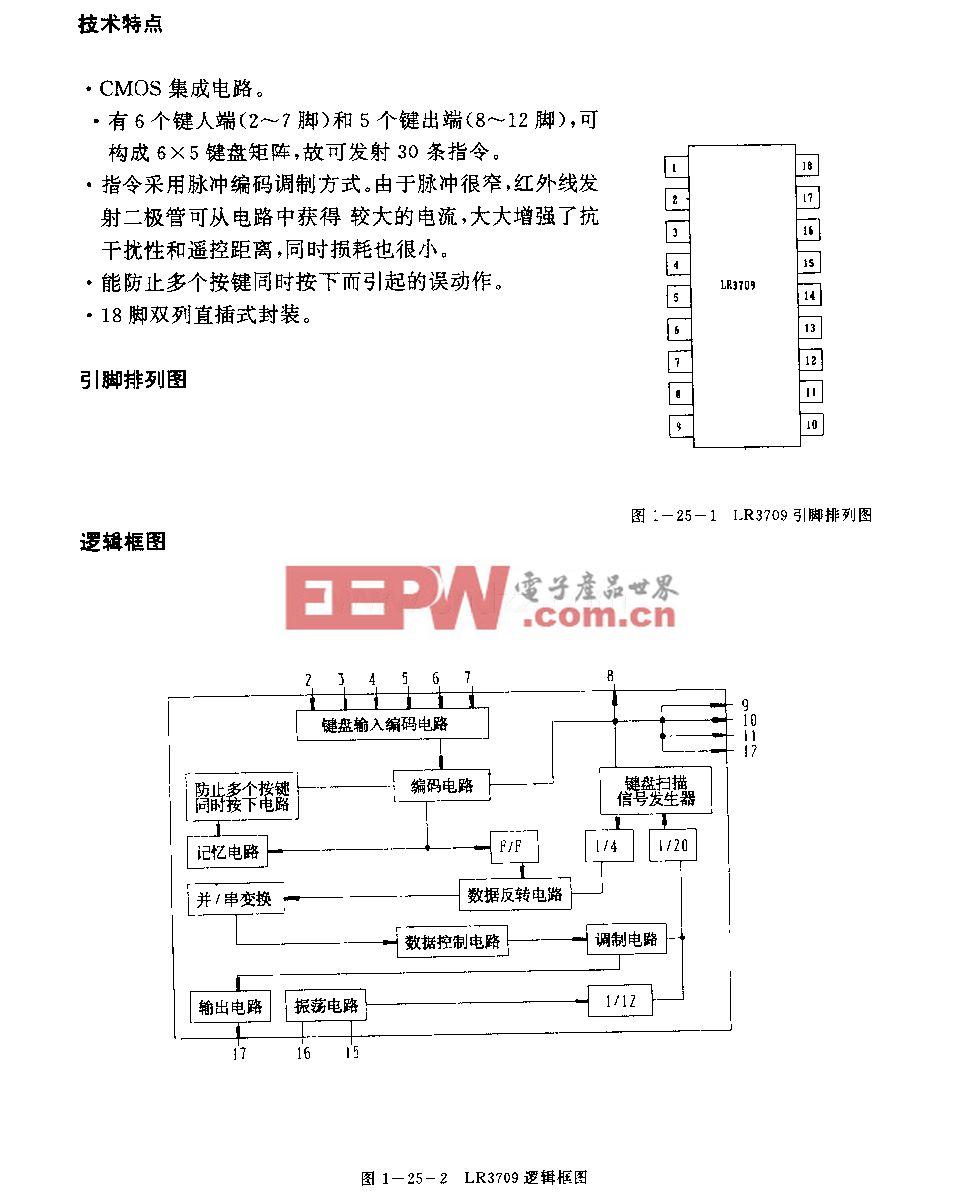 LR3709(录像机)红外线遥控发射电路