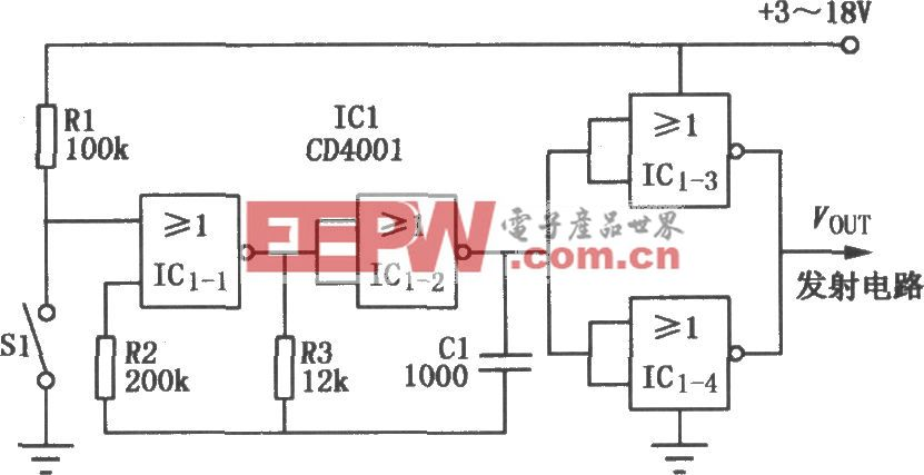 CD4001組成的單通道調制器