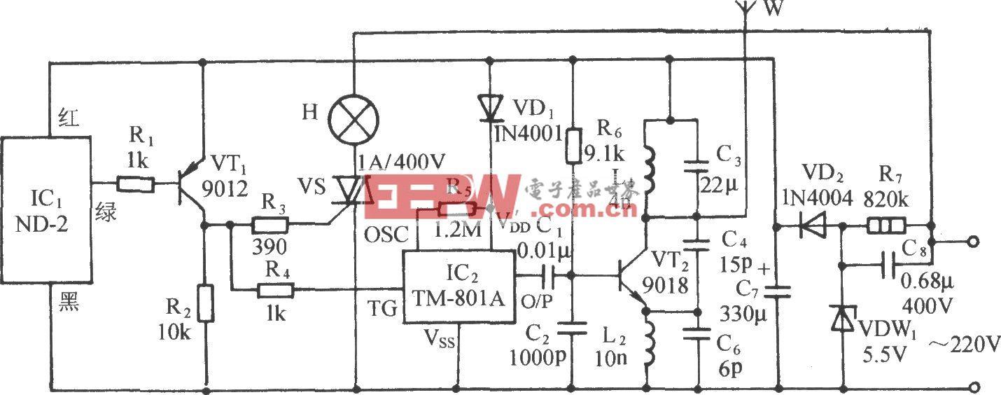 振动传感语音调频无线发射机电路(ND-2、TM-801A)
