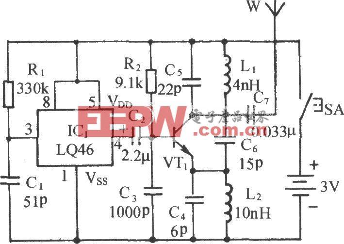 微型无线监听调频(FM)发射机电路二
