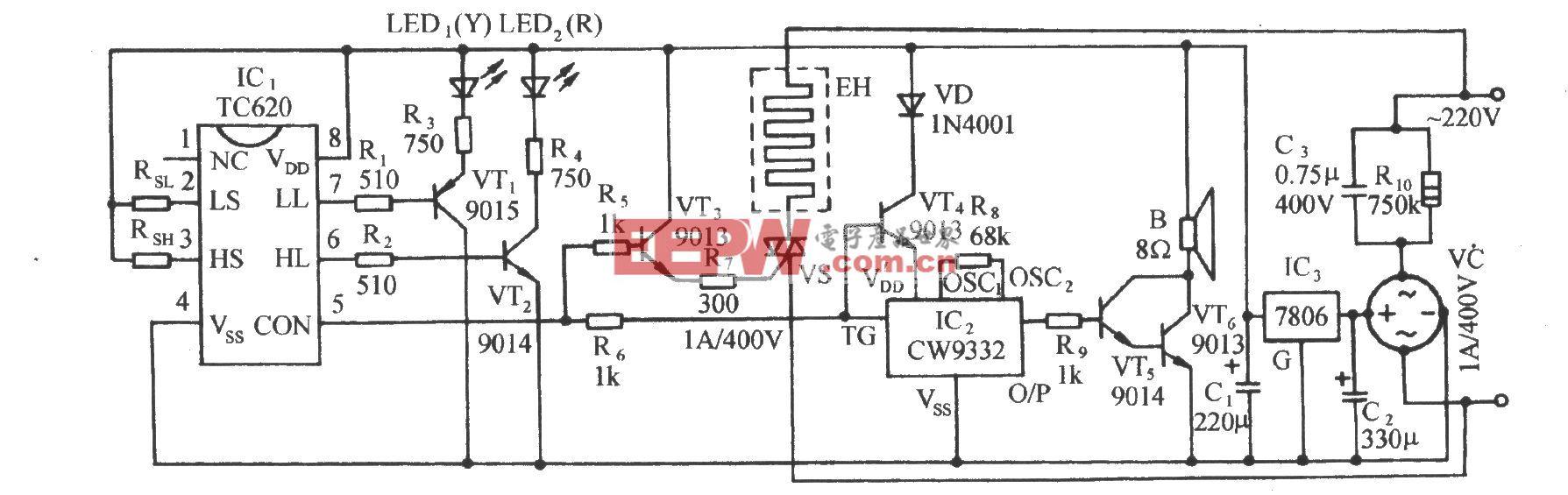 TC620温度传感自动加热恒温控制电路