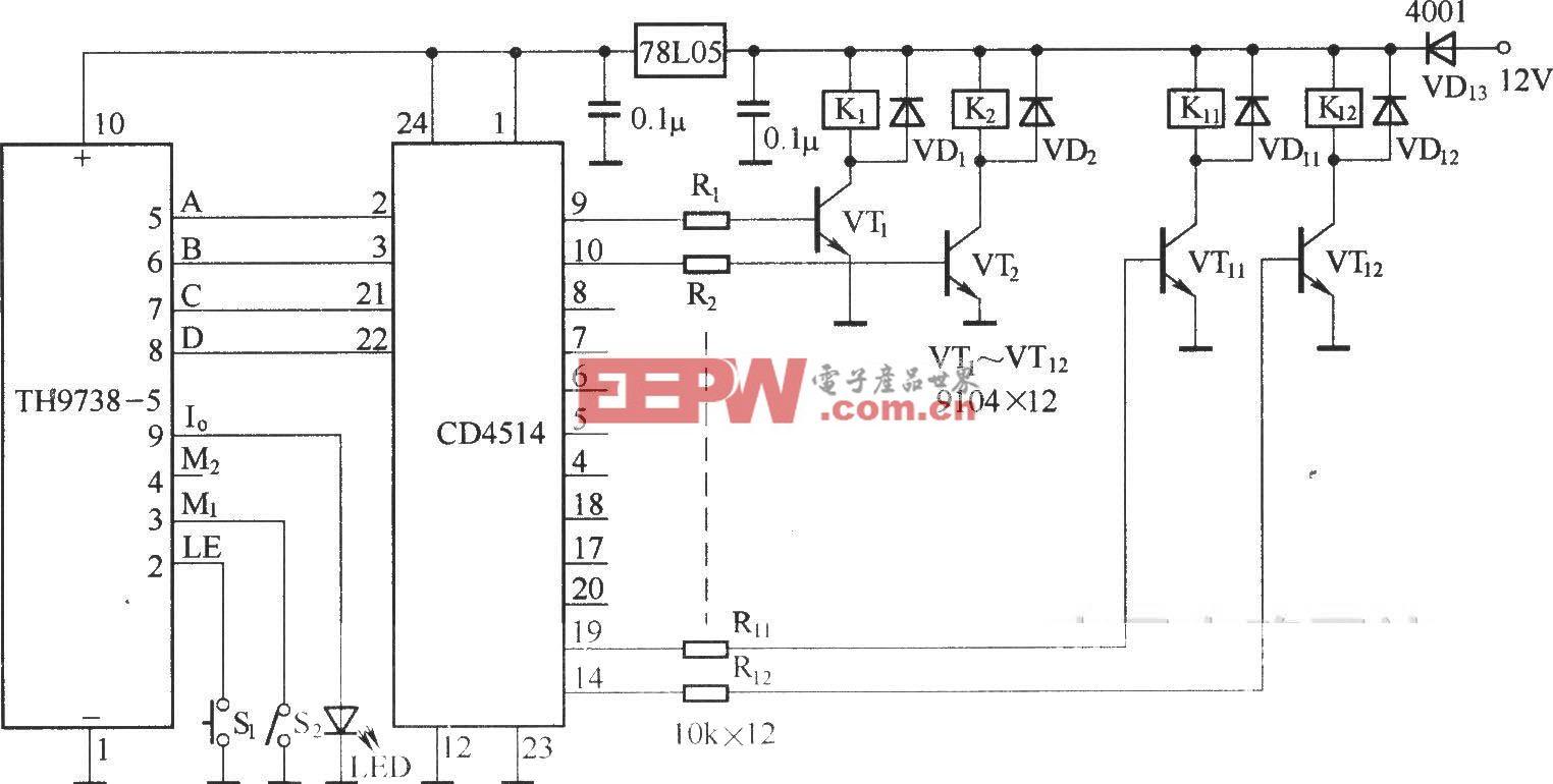 十二路无线电遥控电路(TH9738)