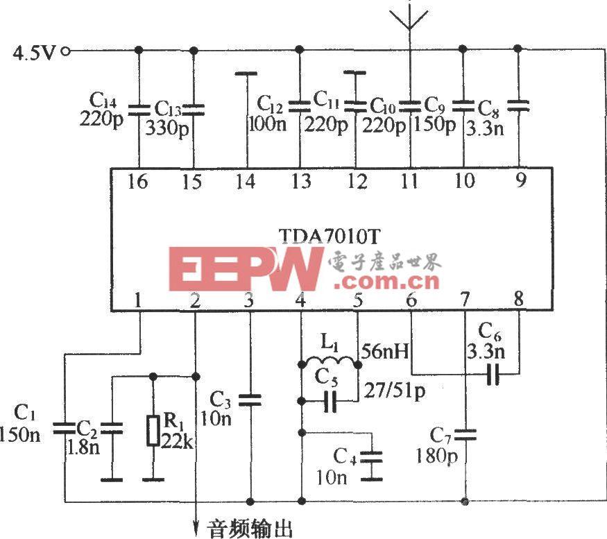 由TDA7010T组成的接收电路