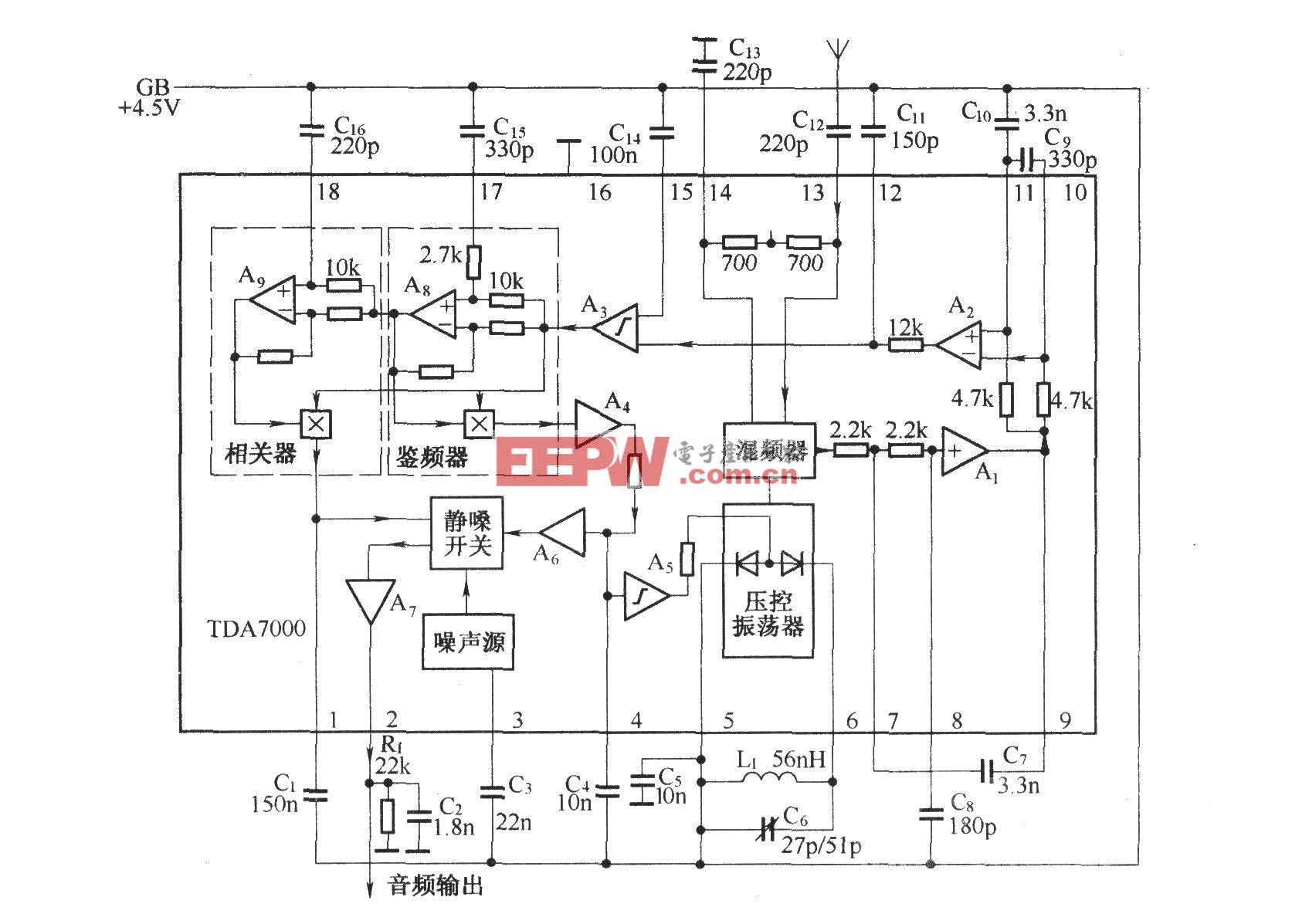 TDA7000的内电路及其组成的基本接收电路