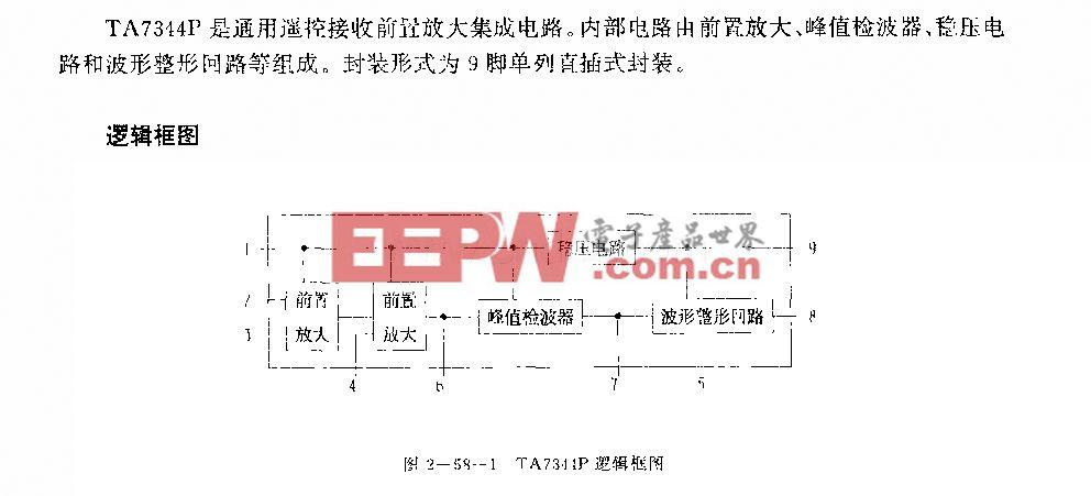 TA7344P (通用)遥控接收前置放大电路