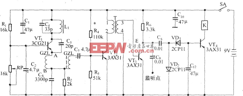 超再生式无线电接收器电路