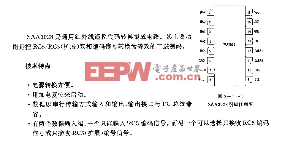SAA3028 (通用)红外线遥控代码转换电路