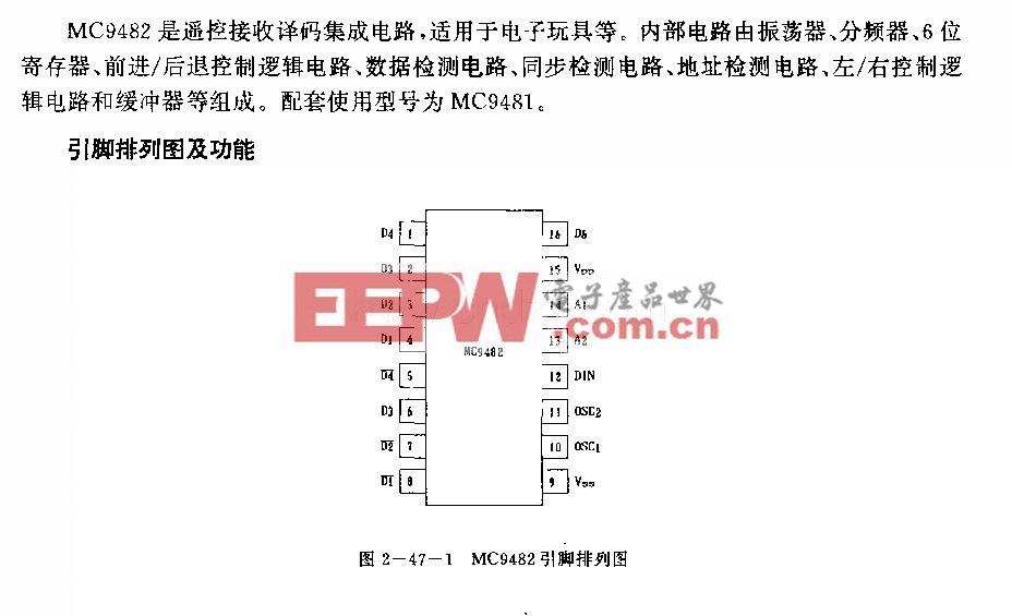 MC9482 (電子玩具)遙控接收譯碼電路