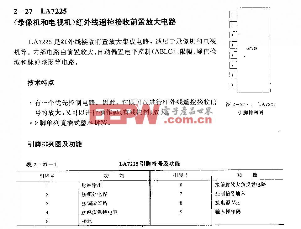 LJA7225 (录像机和电视机)红外线遥控接收前置放大电路