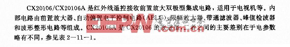 CX20106/CX20106A (電視機)紅外線遙控接收前置放大電路