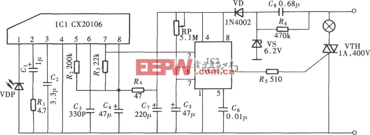 由CX20106、NE555组成的红外遥控延时节电开关