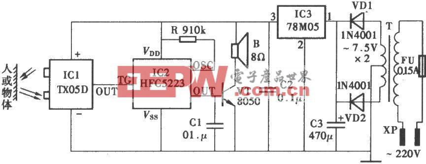 采用TX05D的红外线控制门铃电路