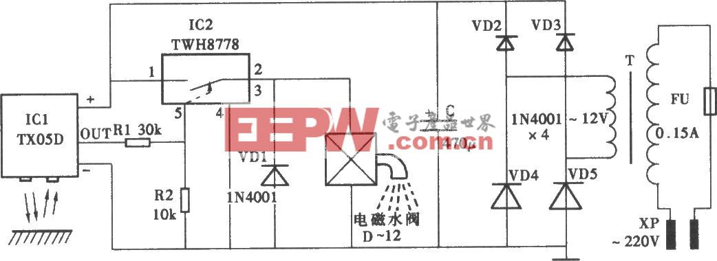 采用TX05D的红外线控制水龙头电路