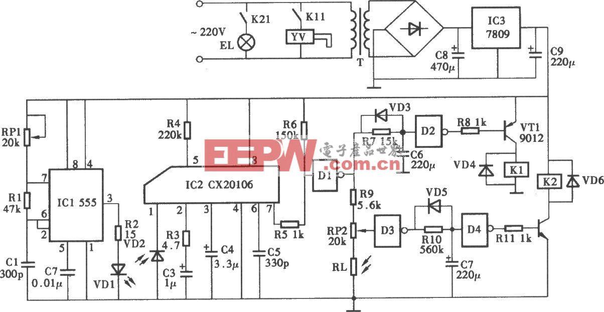 采用CX20106红外线控制水龙头电路