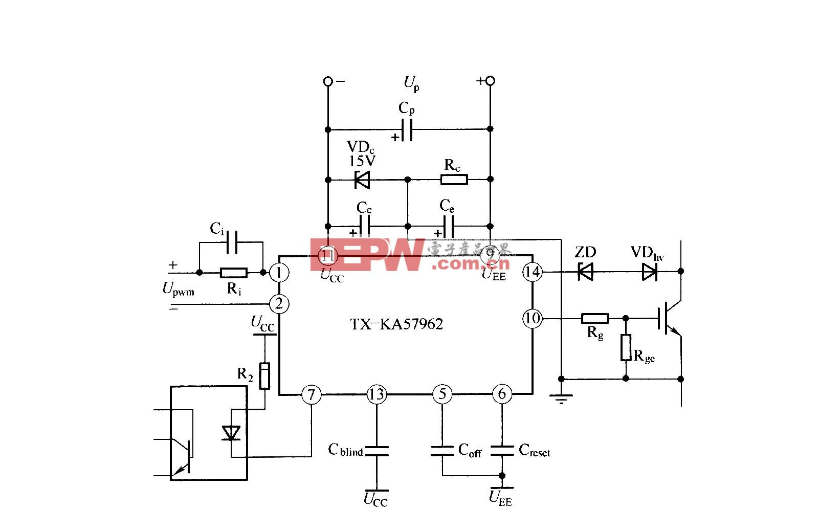 TX—KA57962 IGBT驱动器的应用连接图