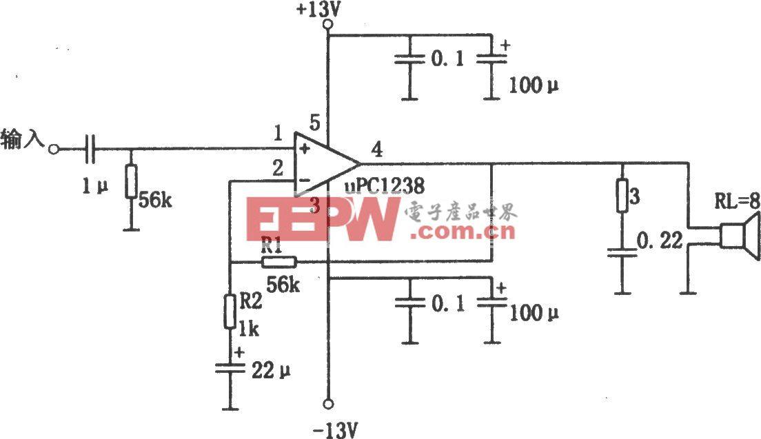 μPC1238构成的1OW音频功率放大器