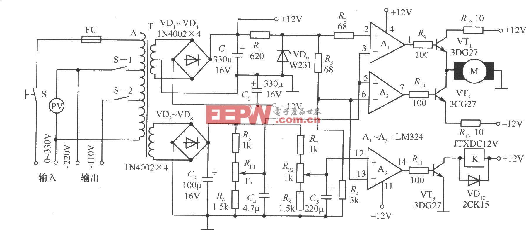 TXD1742连续调节的全自动交流稳压器电路