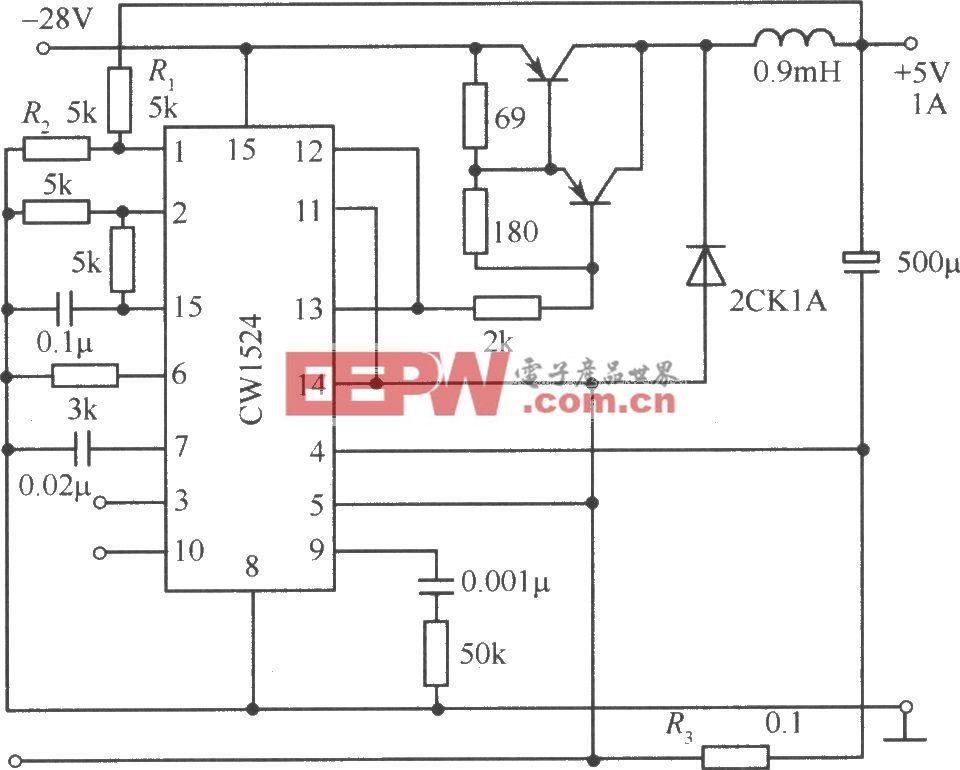 由CW1524组成的半桥式开关稳压电源电路