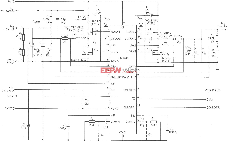 由LM2641构成的输5V/3A,3.3V/4A,12V/0.3A和5V/0.025A的四输出电源电