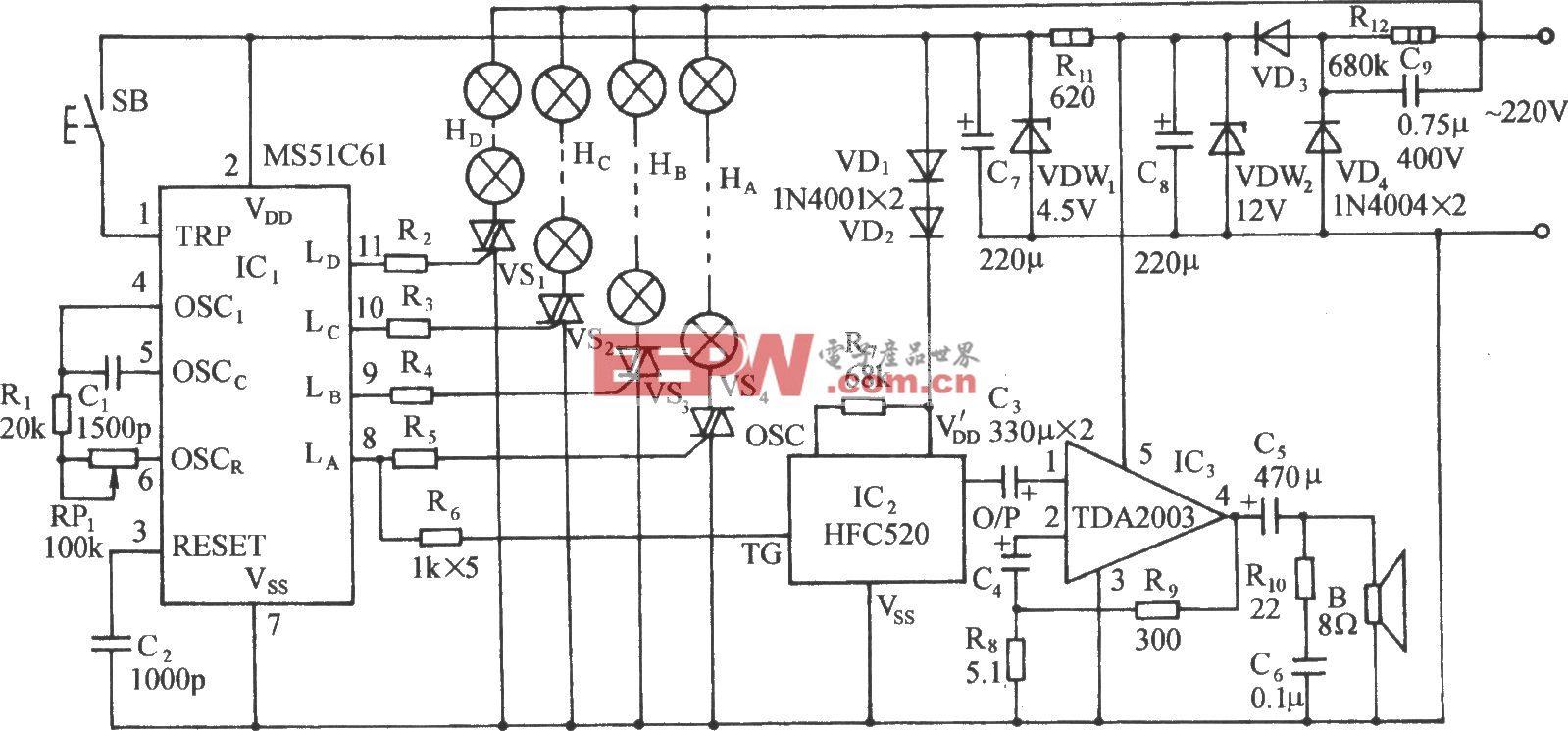 MS51C61程控流水彩灯伴鞭炮声控制电路
