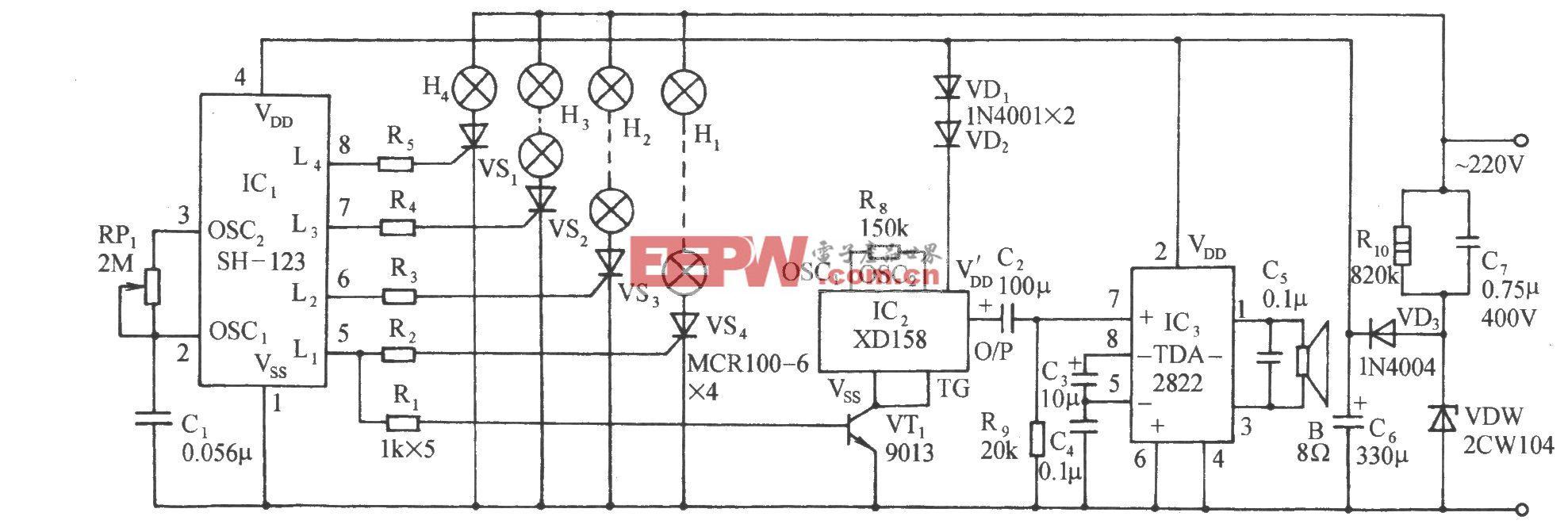 四路彩灯伴迪斯科乐曲控制电路(SH-123)