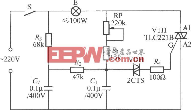 双时间常数的双向晶闸管调光灯电路