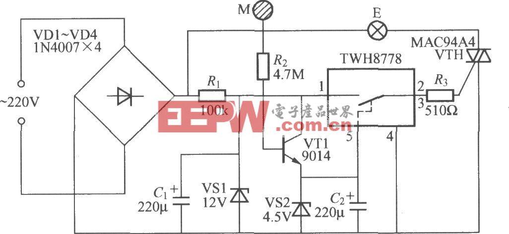 采用功率开关集成电路的触摸式延迟灯电路