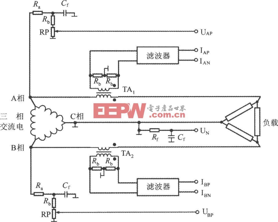 采用三相三线制三角形接法的ADE7752(三相电能计量系统)电路