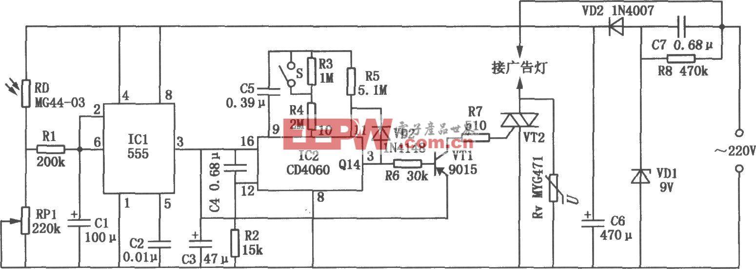 由555、CD4060组成的广告灯自动控制电路