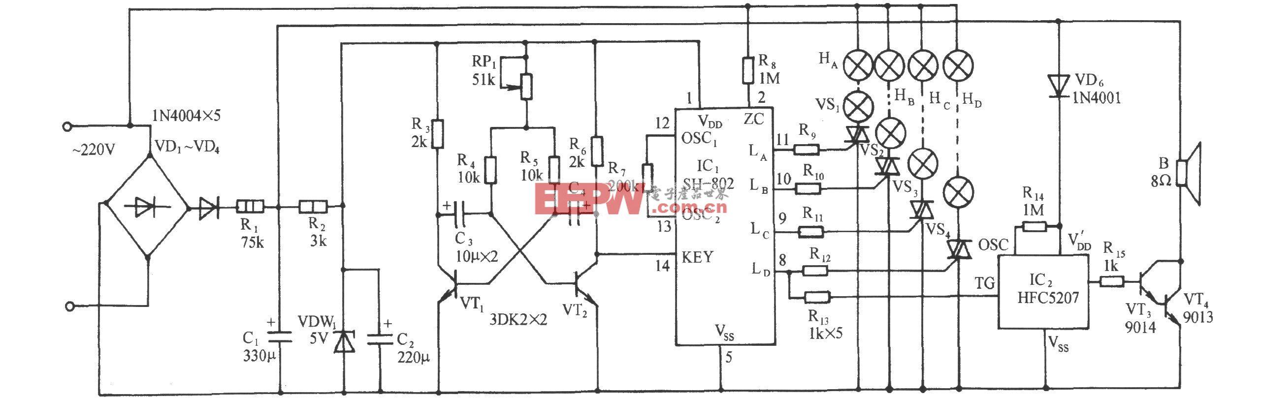 SH-802多种闪光花样彩灯伴迪斯科乐曲控制电路