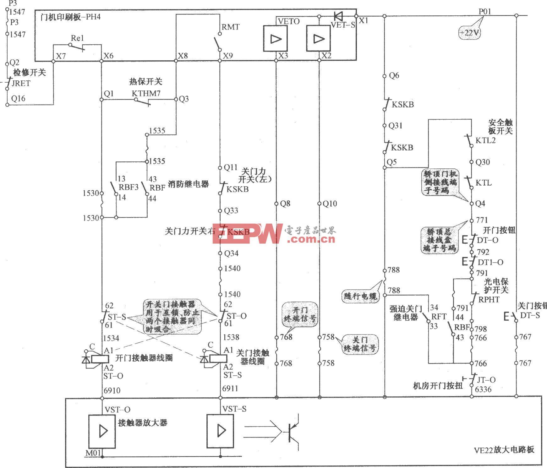 迅达电梯QKS6/12三相交流开门机电路(2)