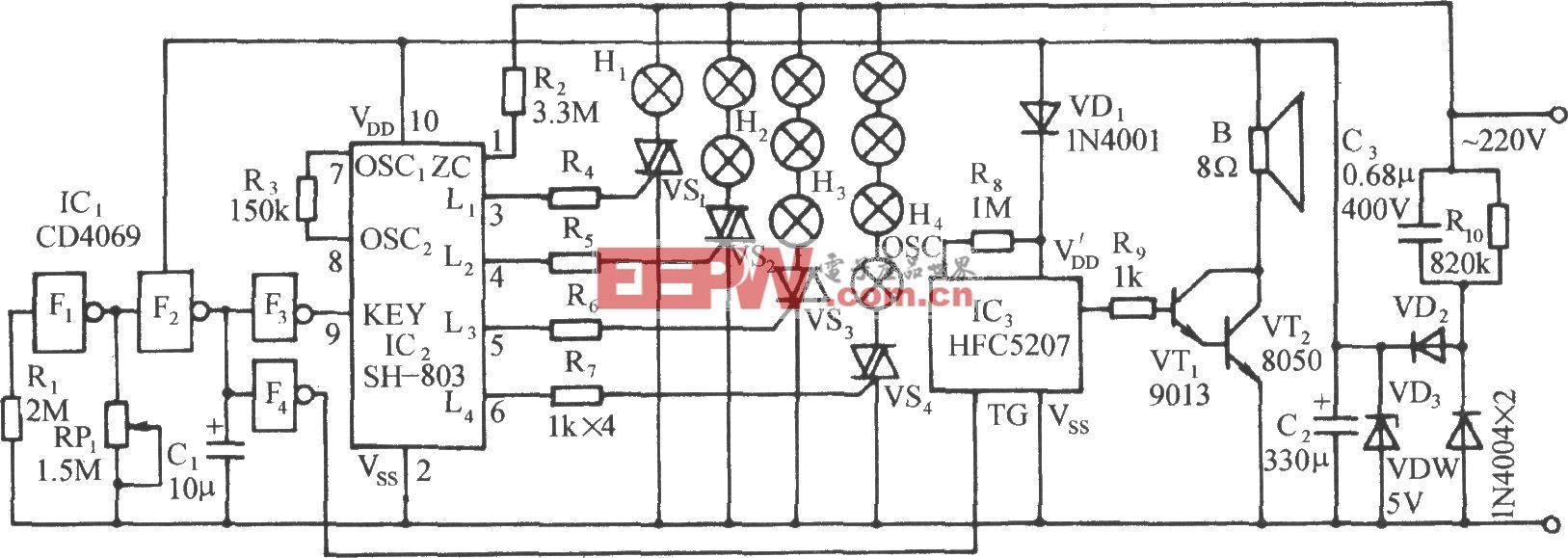 SH-803節日彩燈伴迪斯科樂曲控制電路