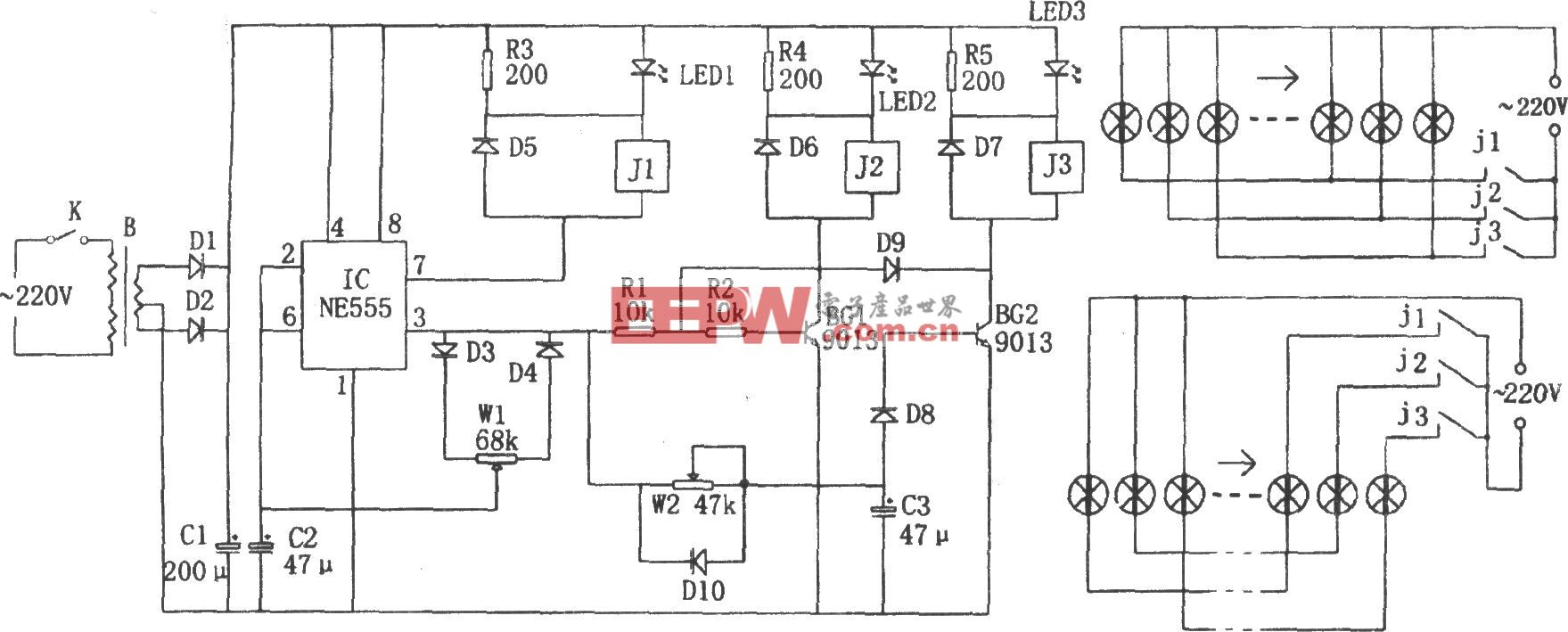 NE555构成的摇滚彩灯控制器