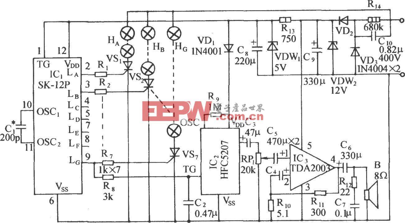 SK-12P程控多變閃光彩燈伴迪斯科樂曲控制電路