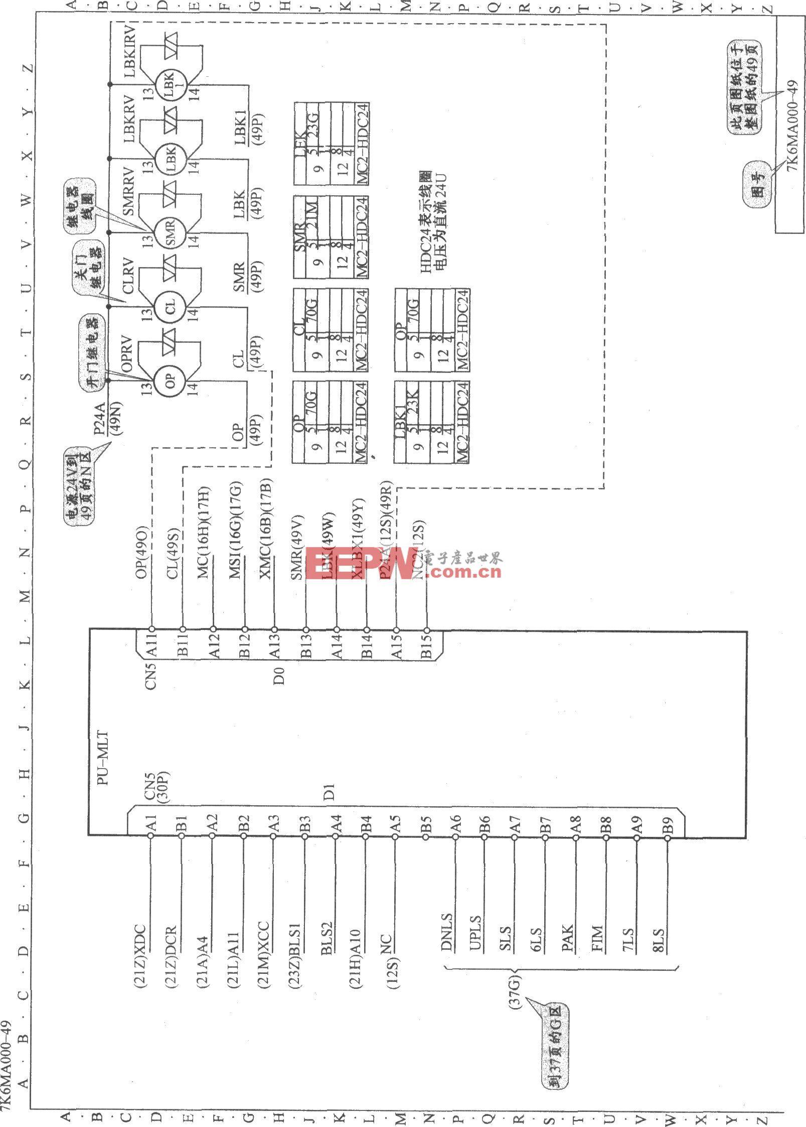 东芝CV180电梯调频开门机电路(1)