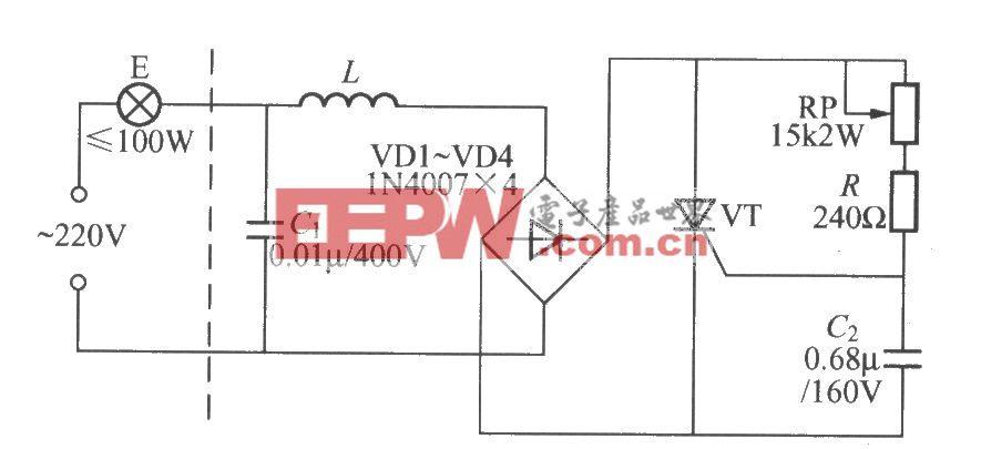 阻容触发单向晶闸管调光灯电路