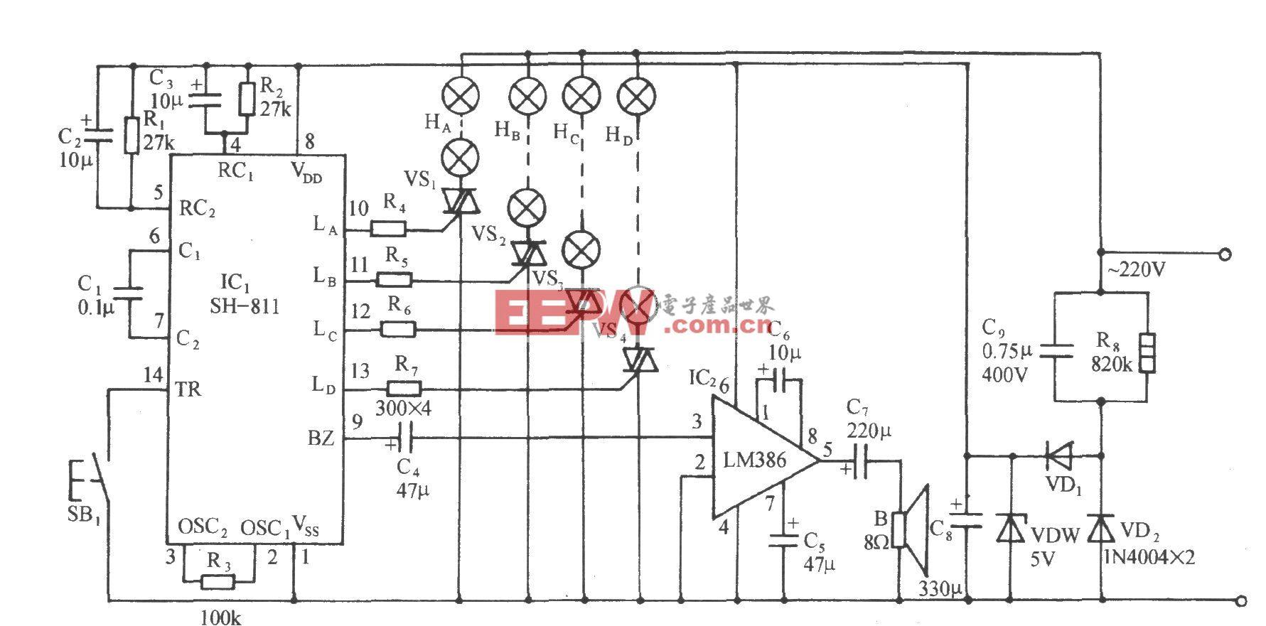 sh-811节日彩灯伴钢琴名曲控制电路