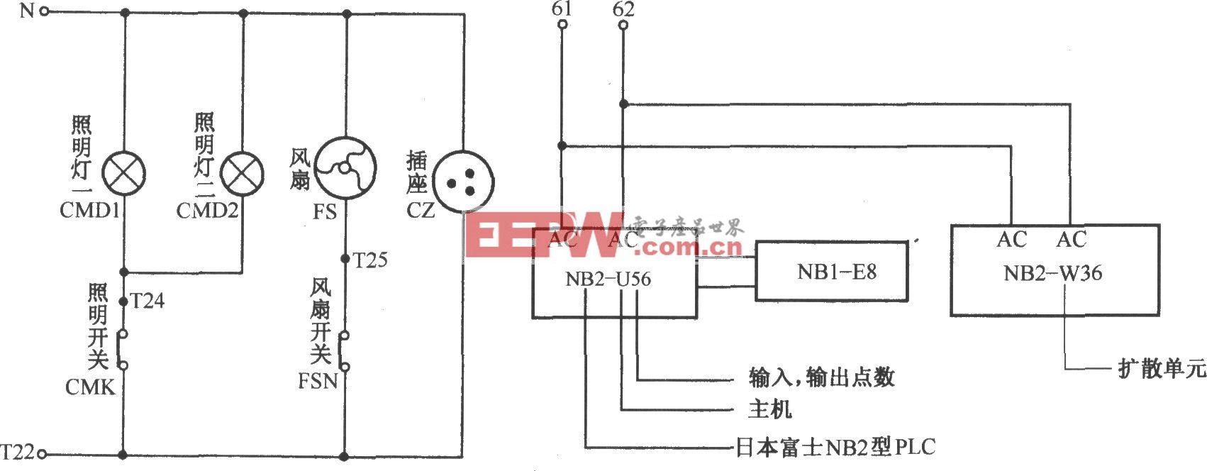 北京图捷电梯照明与PLC用电电路
