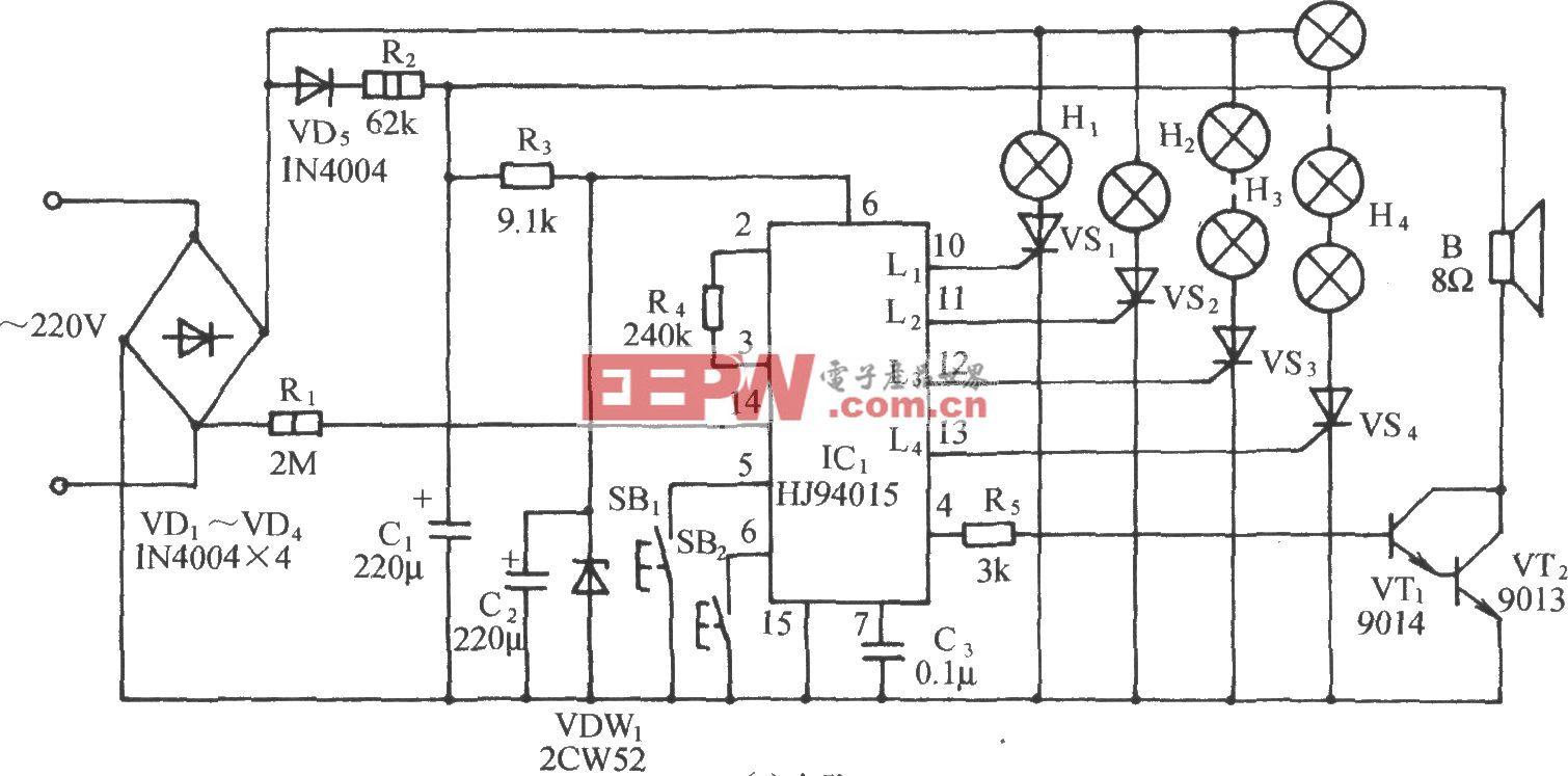 HJ94015圣诞树音乐彩灯控制电路