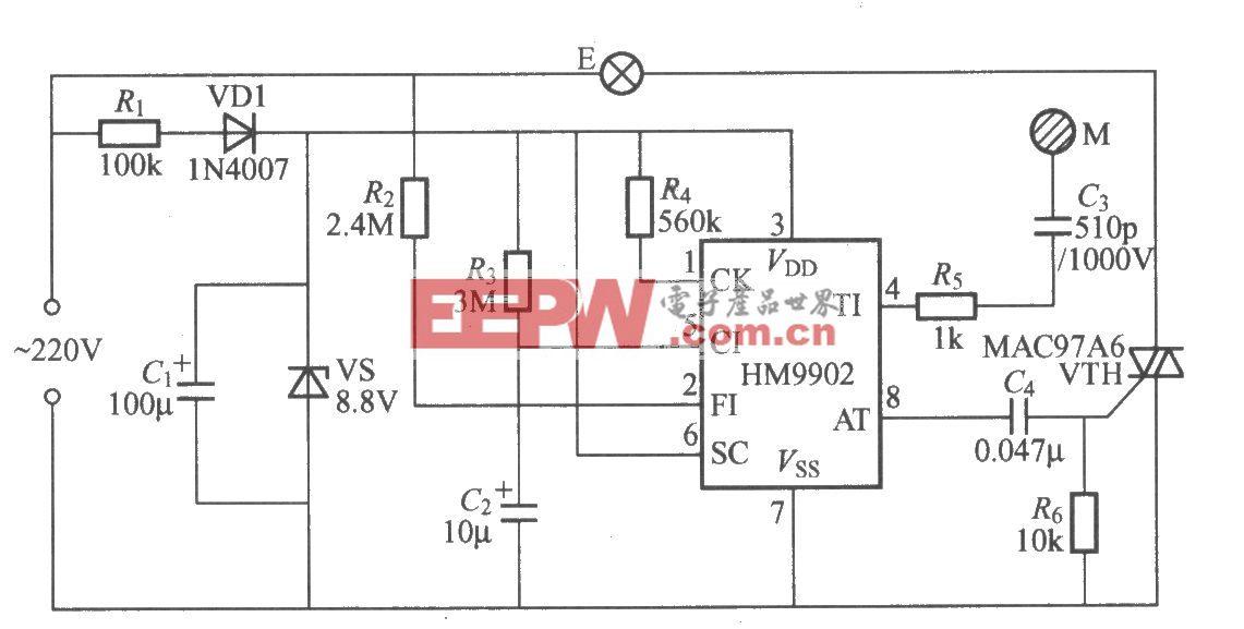 HM9902触摸式二态调光灯电路