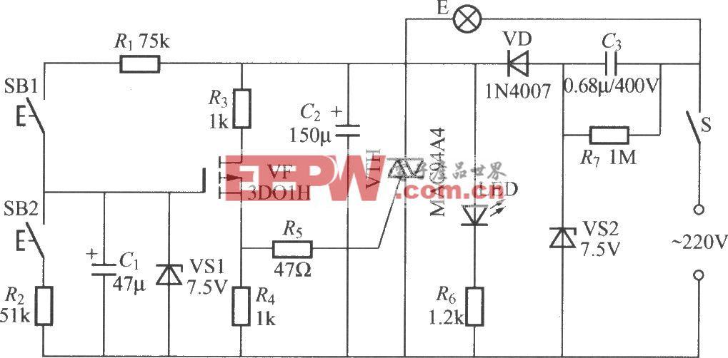 双按键场效应管调光灯电路