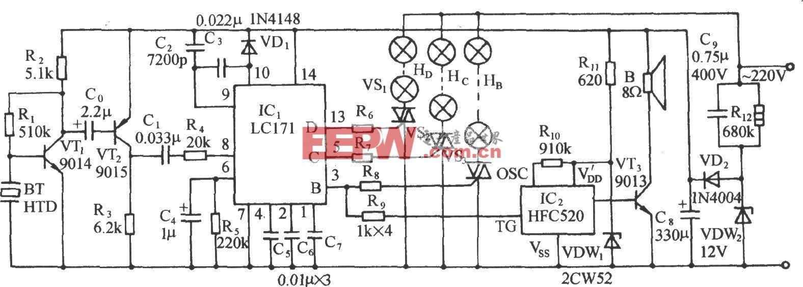LCl71音频压控三路彩灯伴鞭炮声控制电路